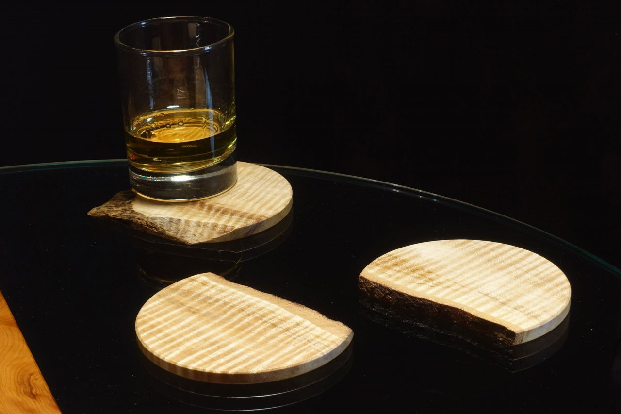 """Coasters in Rippled Sycamore with """"Live Edge"""""""
