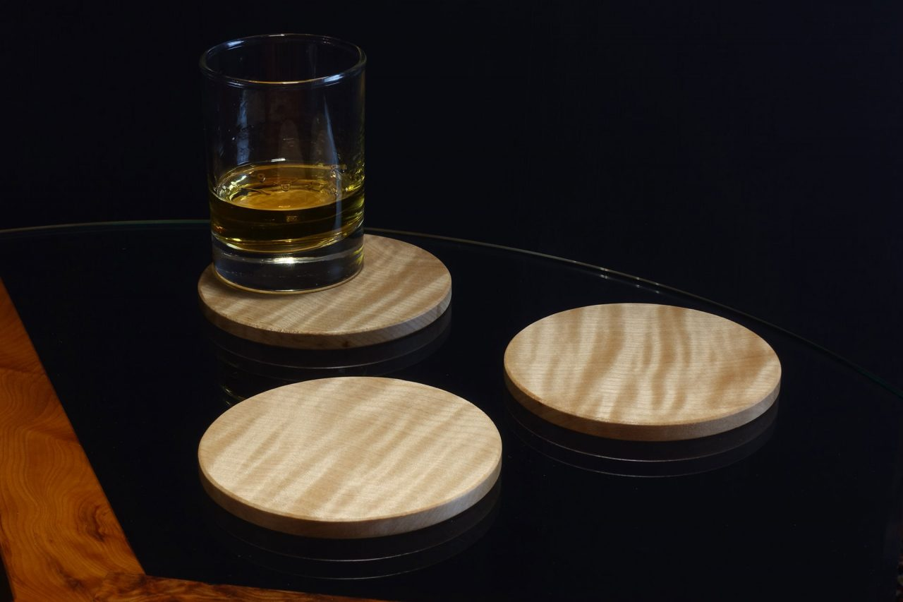 Coasters in Rippled Sycamore