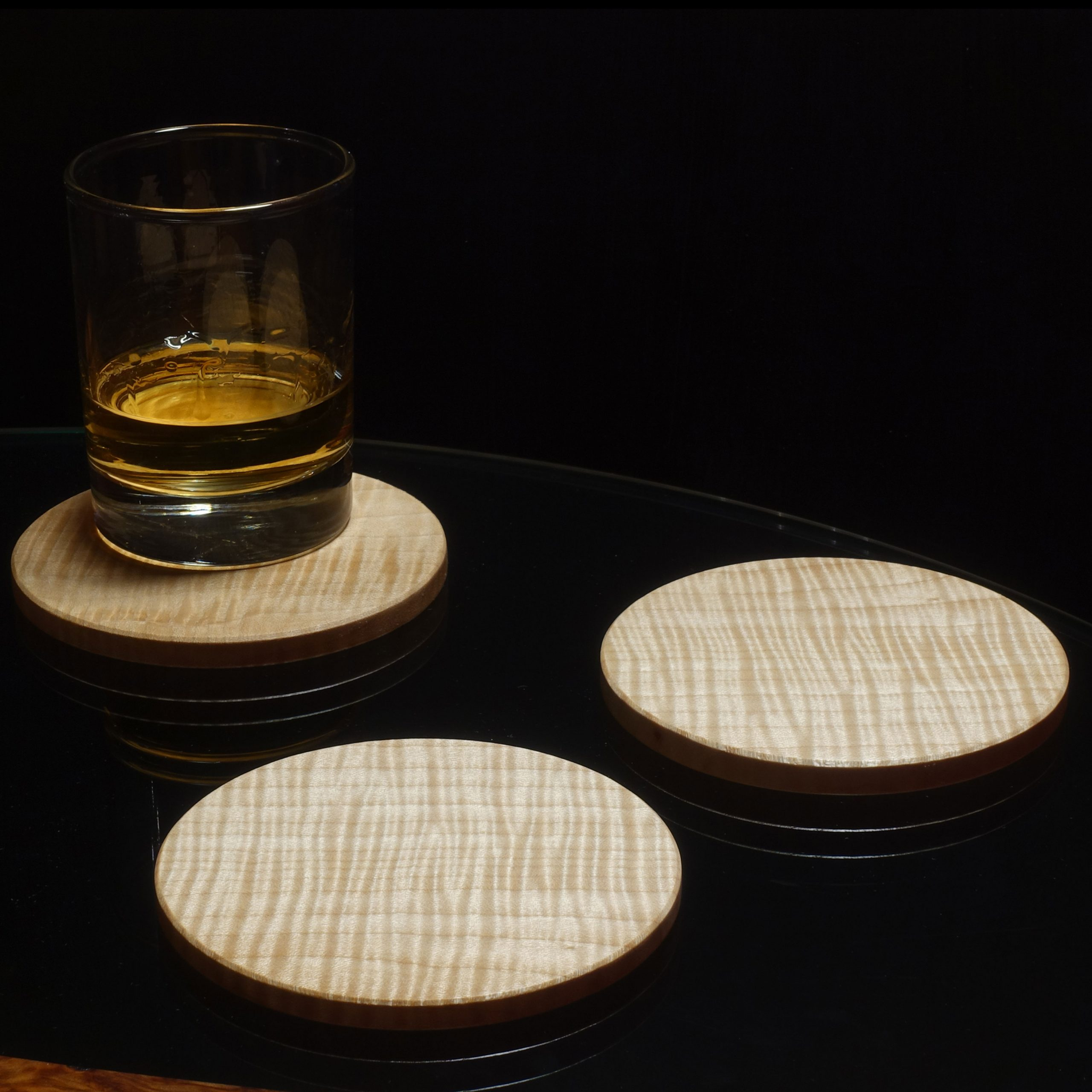 Coaster in Rippled Sycamore