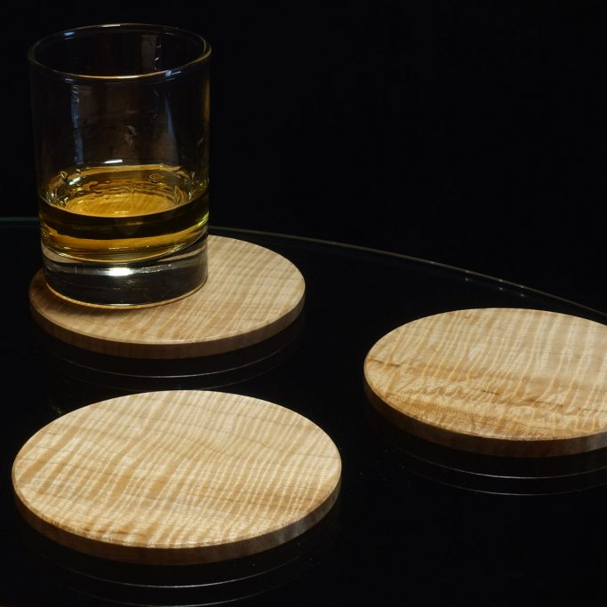 Coasters in Closely Rippled Sycamore