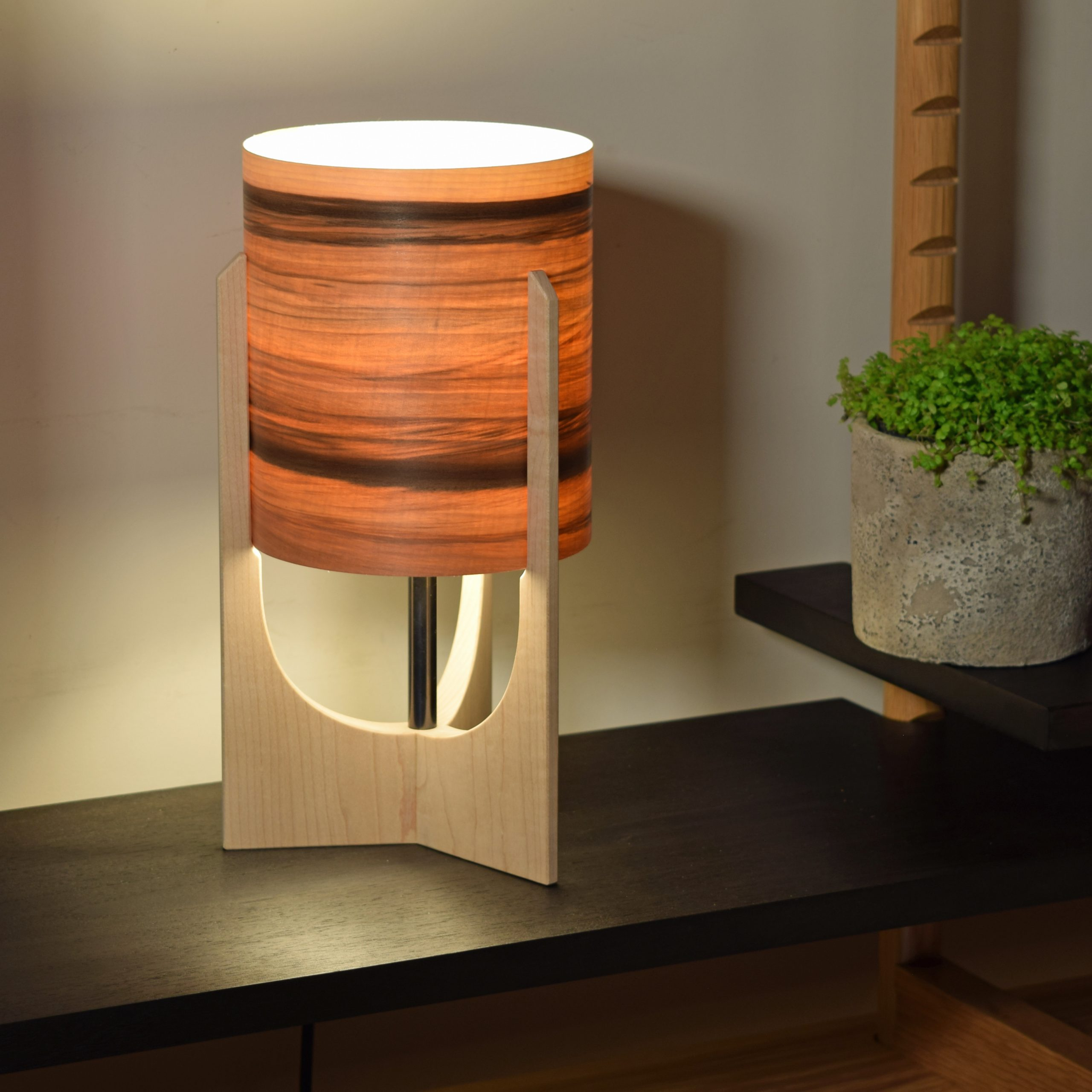 Swallowtail Lamp in Maple with Sunset shade