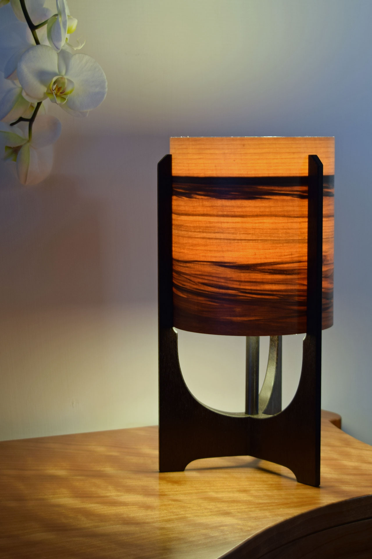 Swallowtail Lamp in Ebonised Reclaimed Mahogany with Sunset shade.