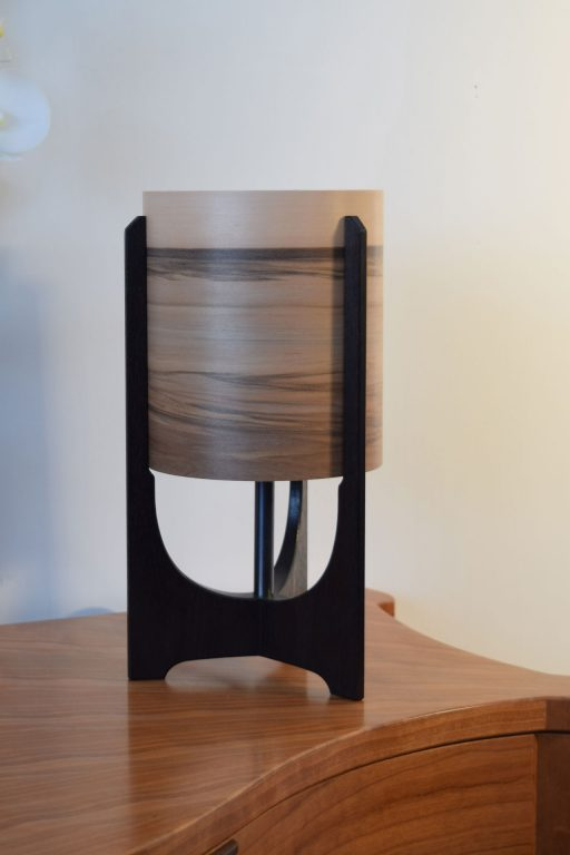 Valley Lamp in Ebonised Reclaimed Mahogany with Sunset shade.