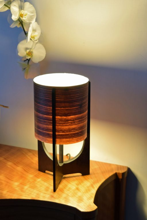 Swallowtail Lamp in Ebonised Reclaimed Mahogany with Walnut shade.