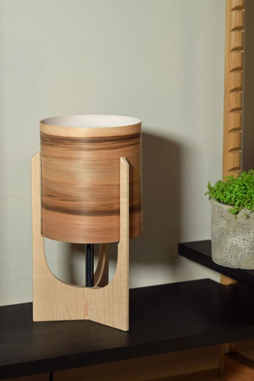 Swallowtail Lamp in Maple with Sunset shade.