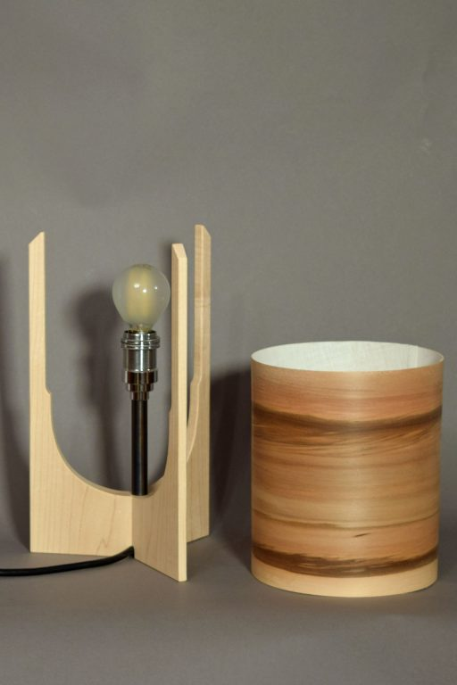 Valley Lamp in Maple with Sunset shade.