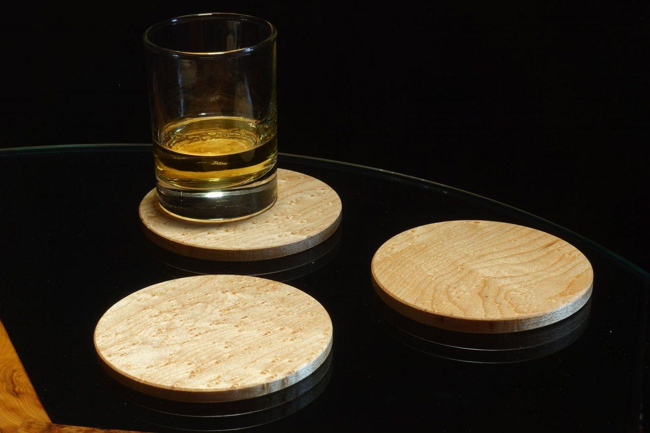 Round Coasters in Birds-Eye Maple