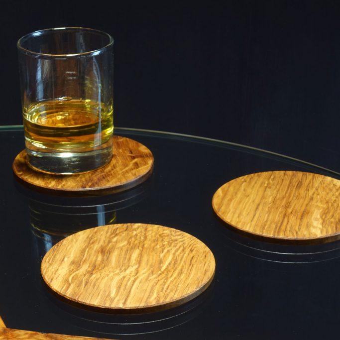Round Coasters in Brown Oak