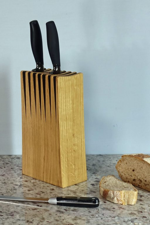 Oak knife block with slashe