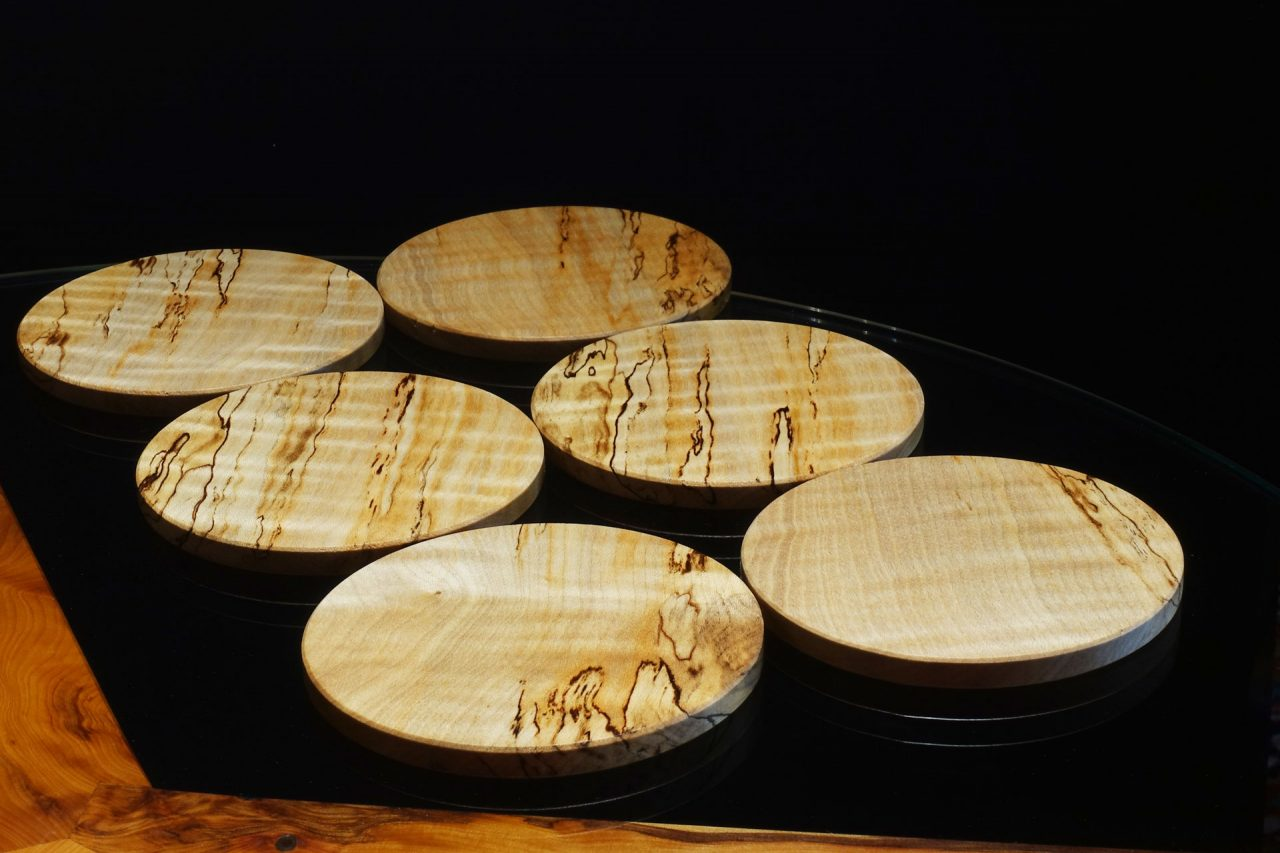 Coasters in Spalted Rippled Sycamore