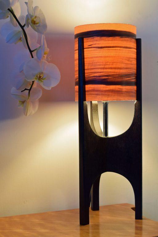Ravine Lamp in Ebonised Reclaimed Mahogany with Sunset shade.