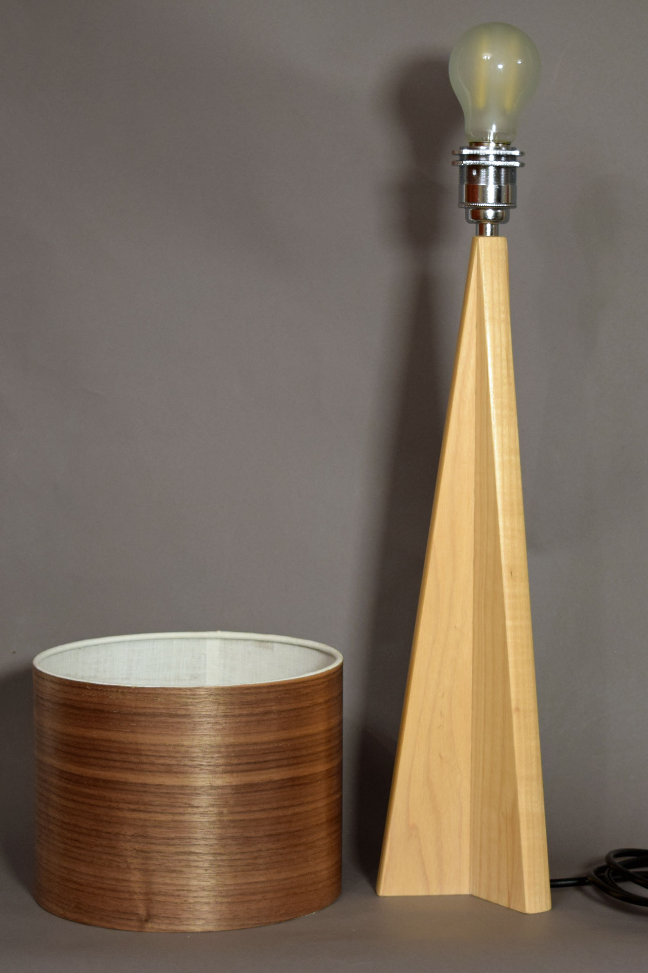 Pinnacle Table Lamp in Ash with Walnut Shade