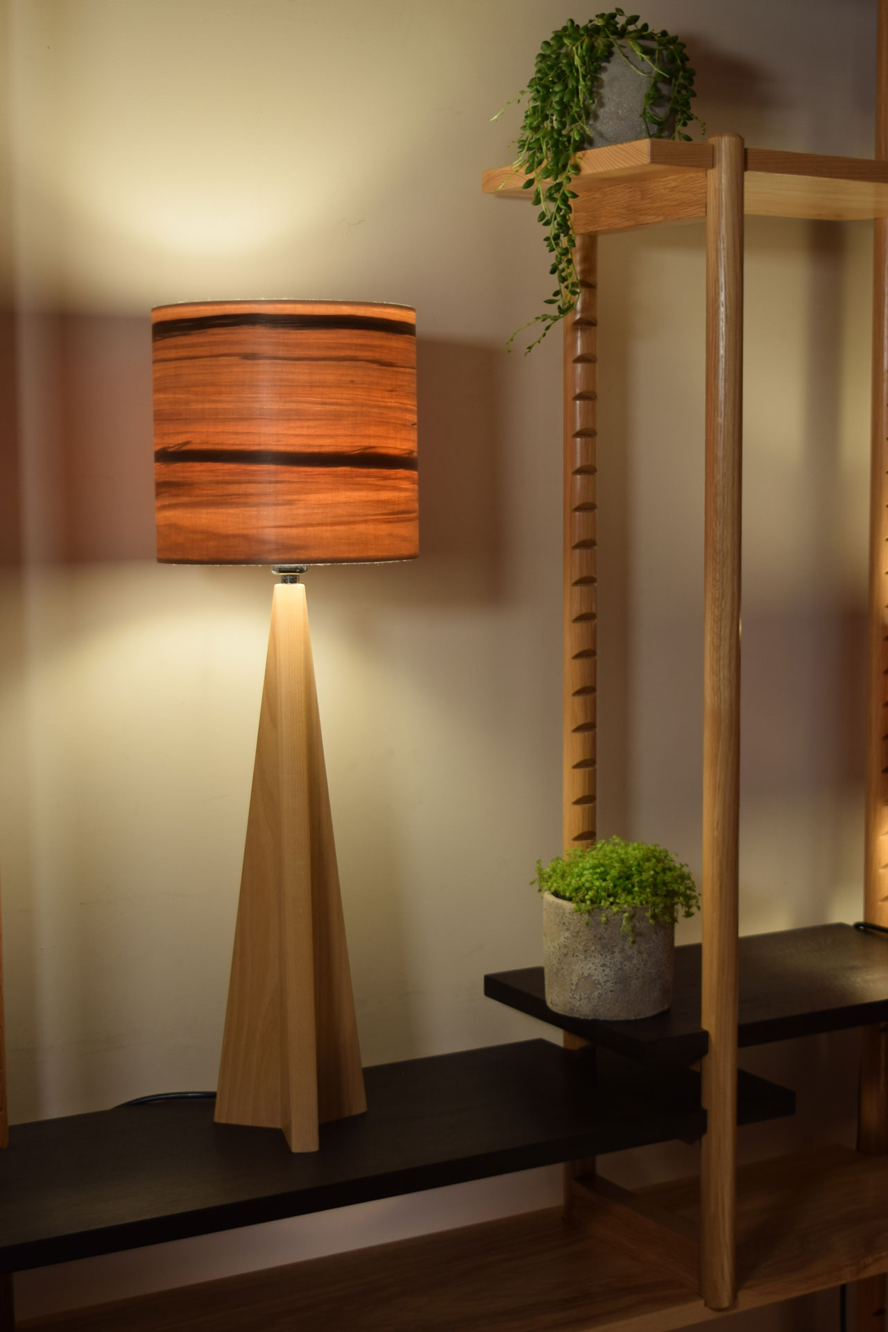 Pinnacle Table Lamp in Ash with Sunset Shade