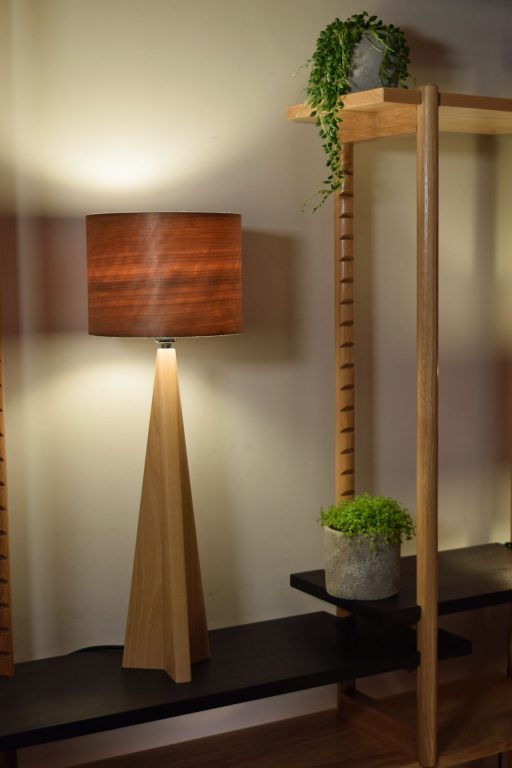 Pinnacle Table Lamp in Ash with Cherry Shade